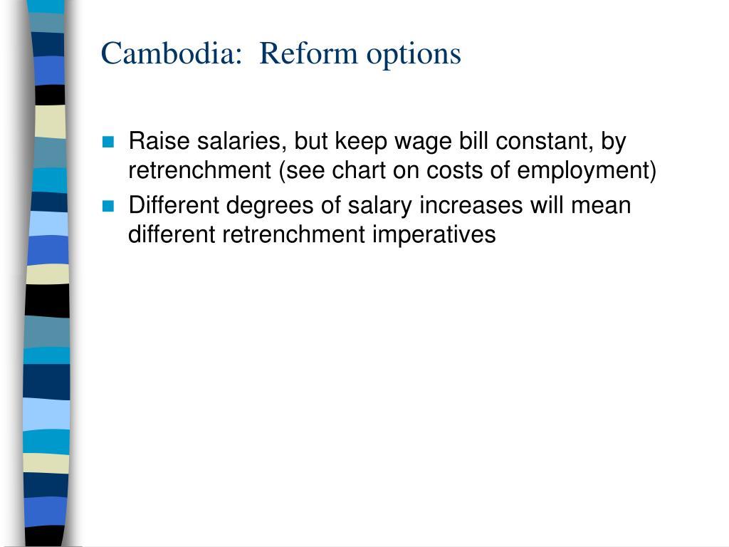 Cambodia:  Reform options