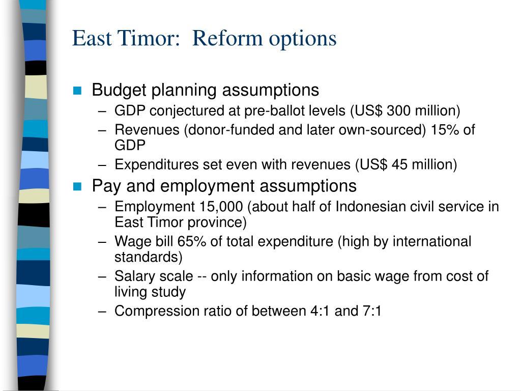 East Timor:  Reform options