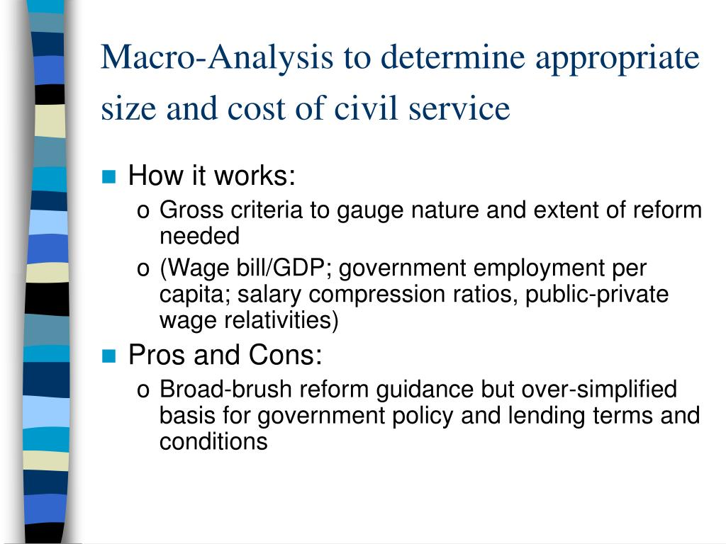 Macro-Analysis to determine appropriate size and cost of civil service
