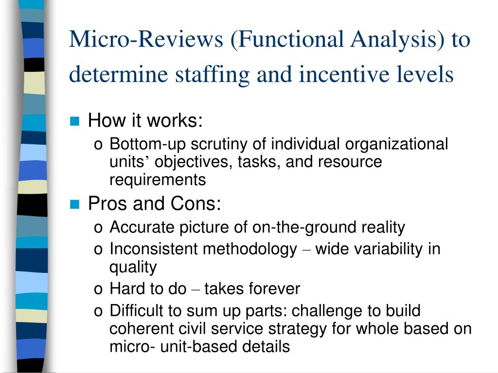 Micro-Reviews (Functional Analysis) to determine staffing and incentive levels