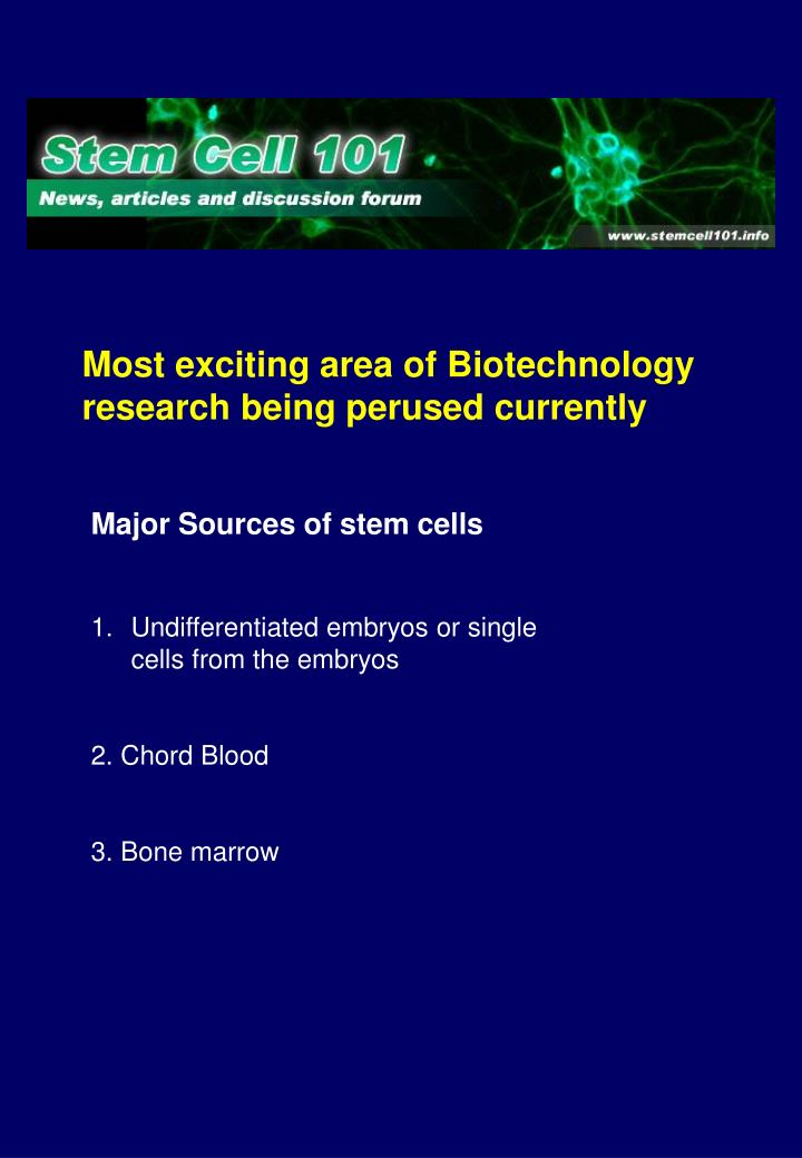 Most exciting area of Biotechnology research being perused currently