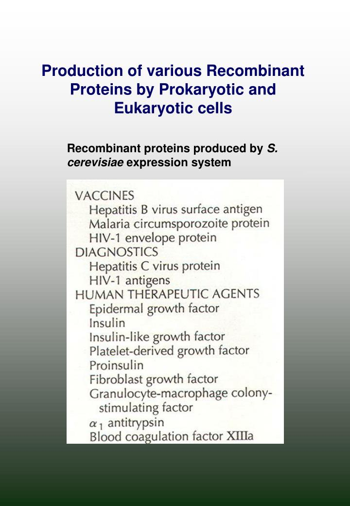 Production of various Recombinant Proteins by Prokaryotic and Eukaryotic cells