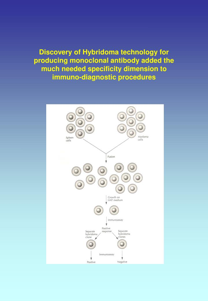 Discovery of Hybridoma technology for producing monoclonal antibody added the much needed specificity dimension to immuno-diagnostic procedures