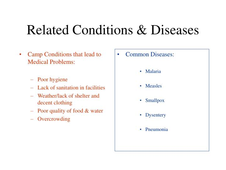 Camp Conditions that lead to Medical Problems: