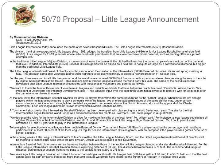 50/70 Proposal – Little