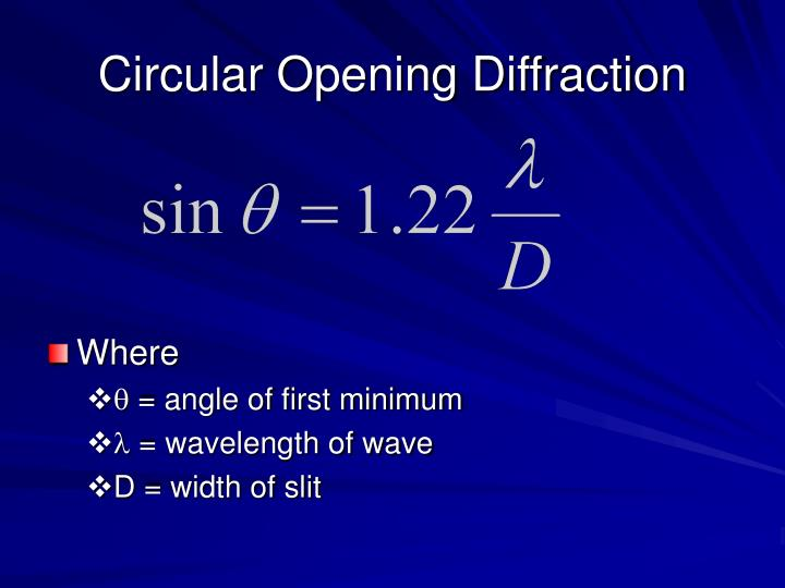 Circular Opening Diffraction