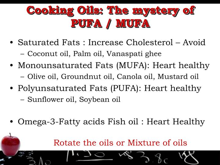 Cooking Oils: The mystery of PUFA / MUFA