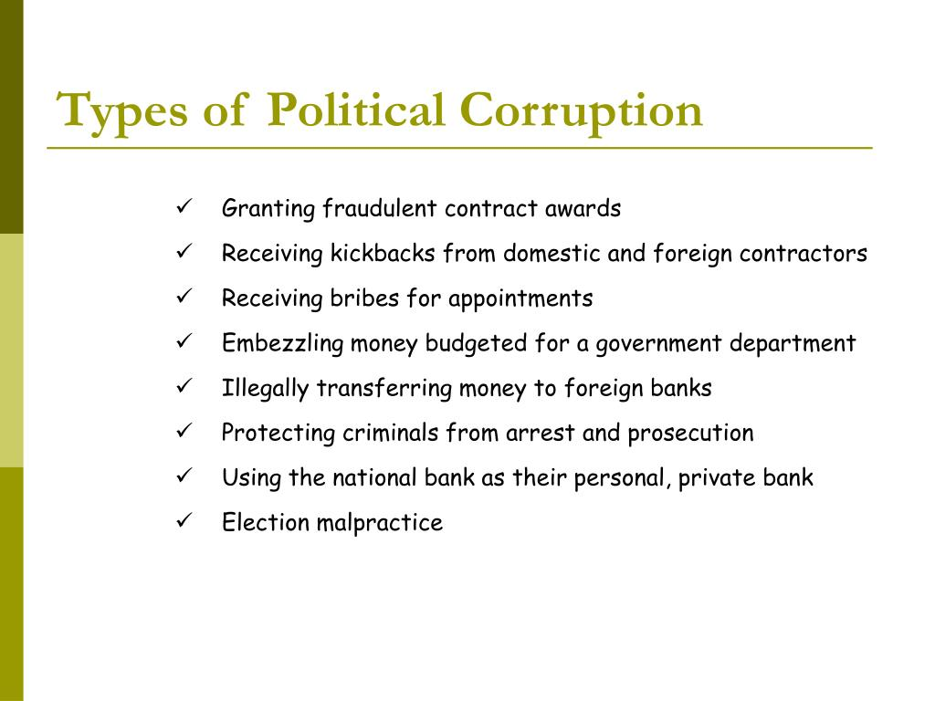 Types of Political Corruption