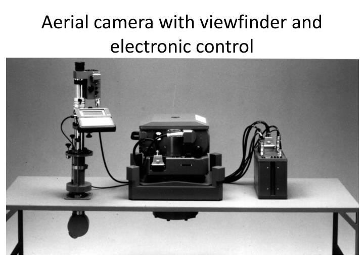 Aerial camera with viewfinder and electronic control
