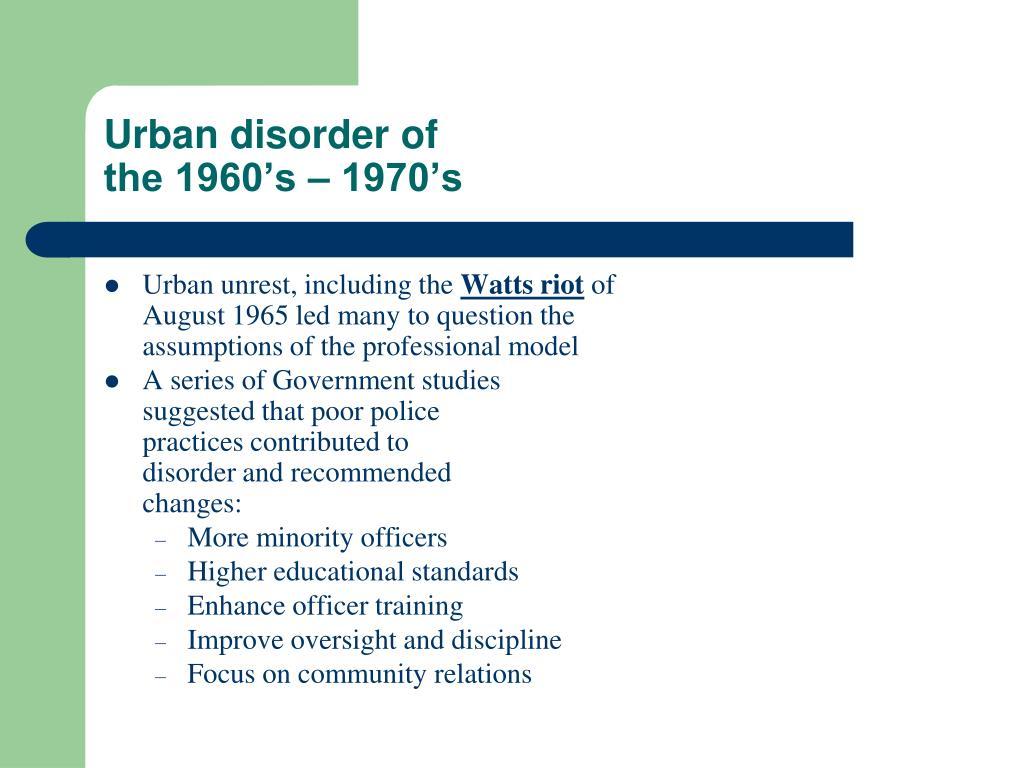 Urban disorder of
