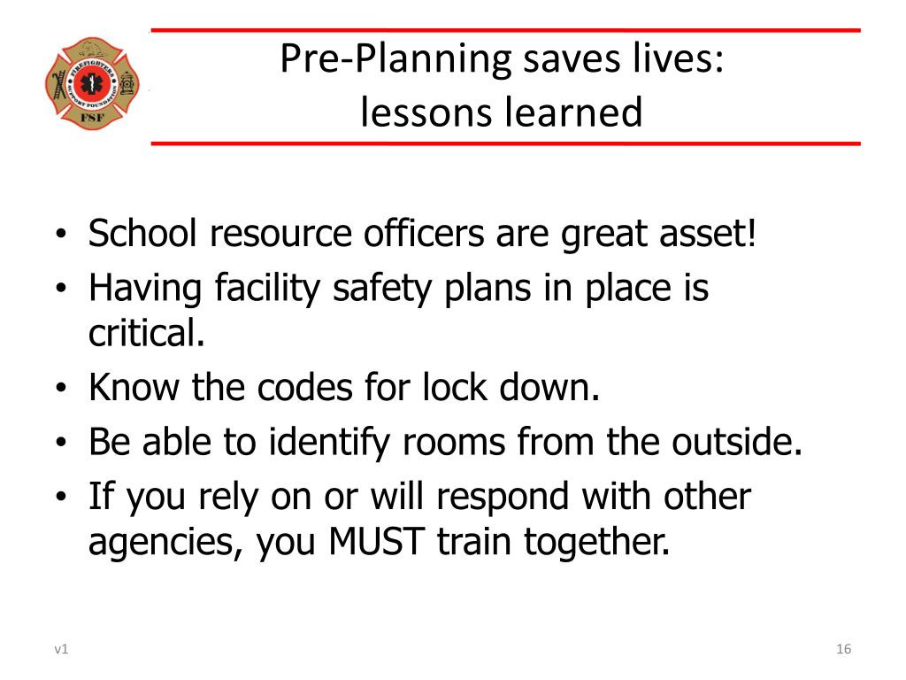 Pre-Planning saves lives: