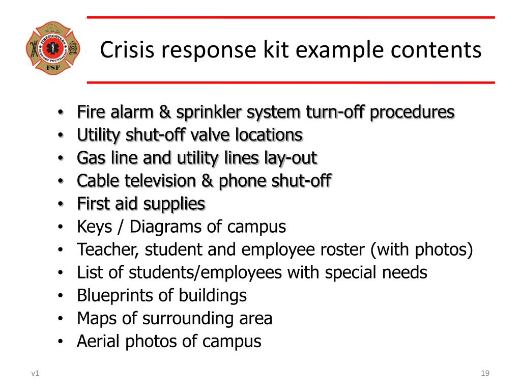 Crisis response kit example contents