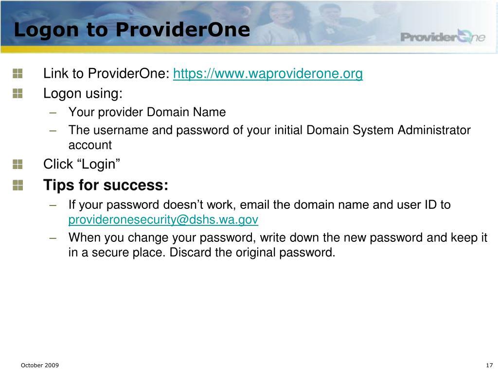 Logon to ProviderOne