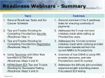 readiness webinars summary