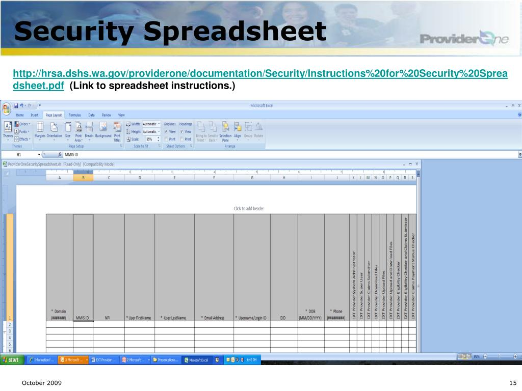 Security Spreadsheet
