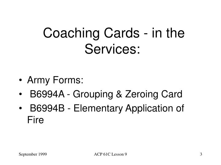 Coaching cards i n the services l.jpg