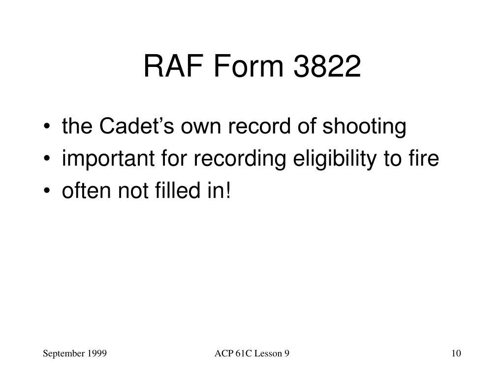 RAF Form 3822