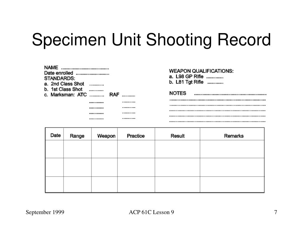 Specimen Unit Shooting Record
