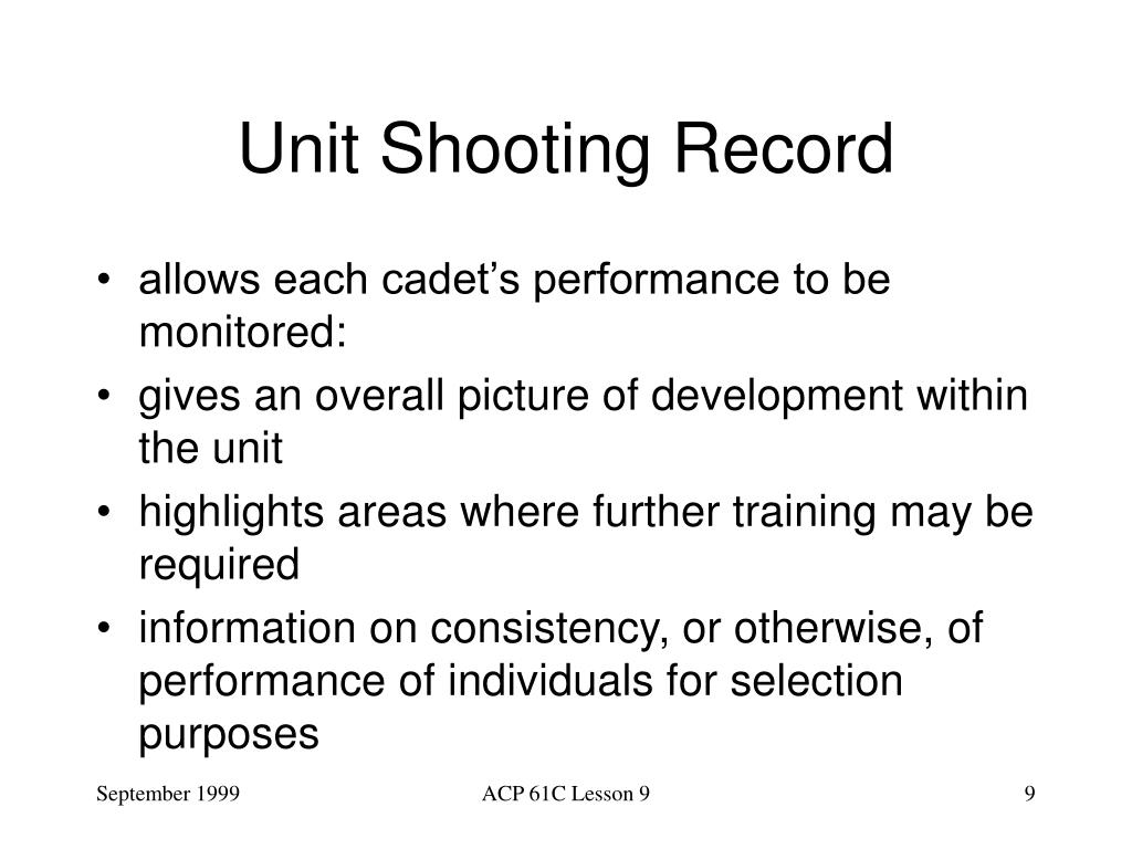 Unit Shooting Record
