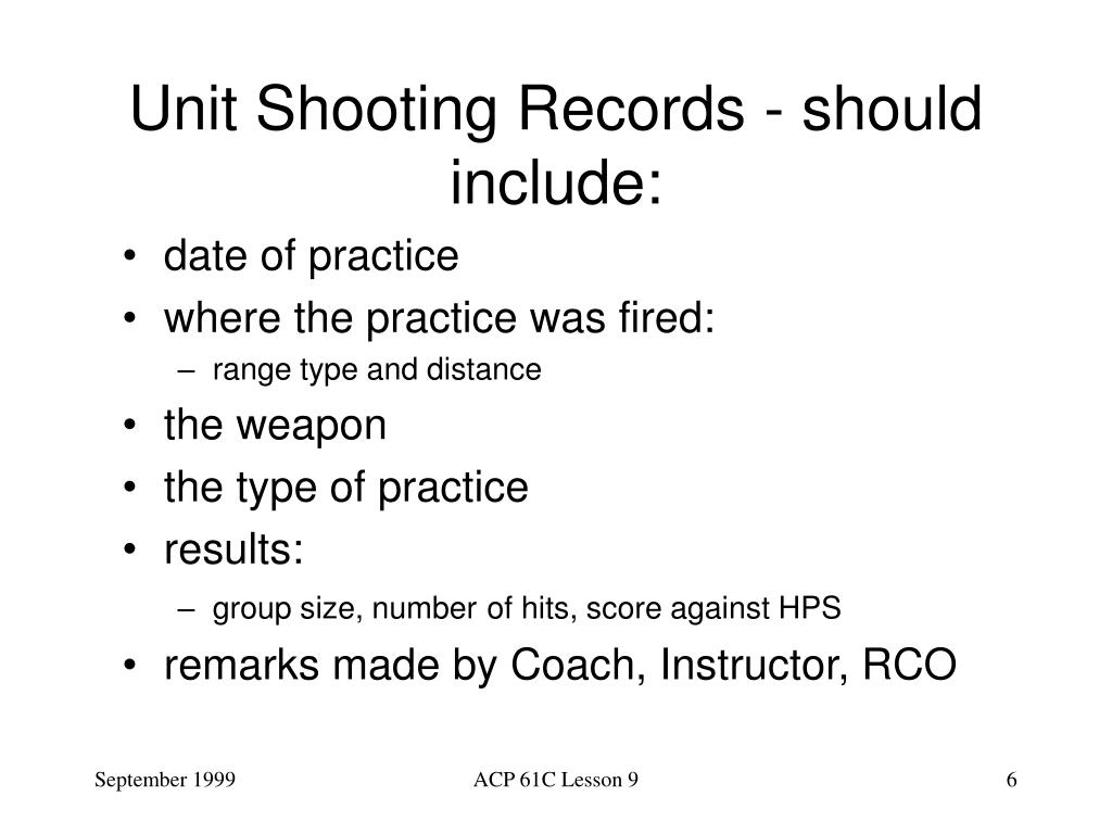 Unit Shooting Records - should include: