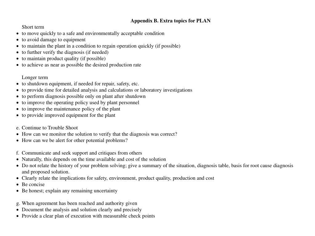 Appendix B. Extra topics for PLAN