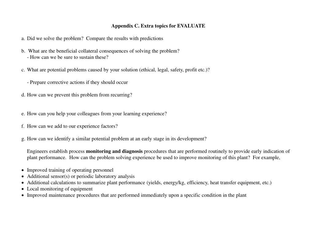 Appendix C. Extra topics for EVALUATE