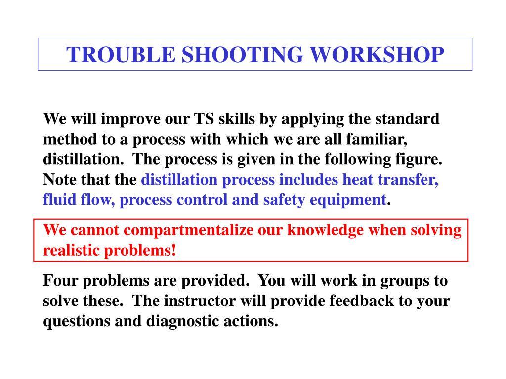 TROUBLE SHOOTING WORKSHOP