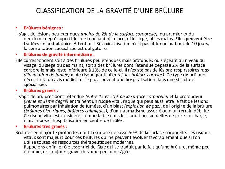 CLASSIFICATION DE LA GRAVITÉ D'UNE BRÛLURE