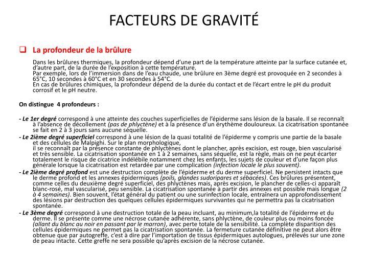 FACTEURS DE GRAVITÉ