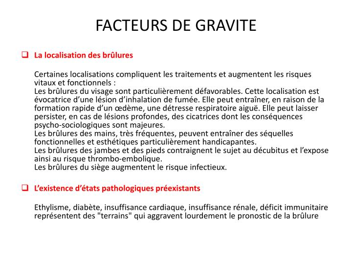 FACTEURS DE GRAVITE