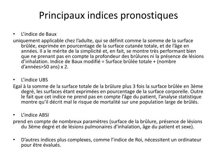 Principaux indices pronostiques