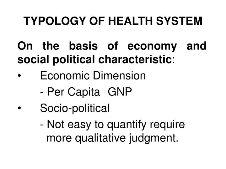 Typology of health system