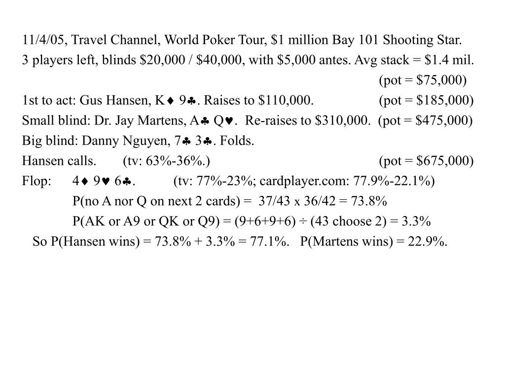 11/4/05, Travel Channel, World Poker Tour, $1 million Bay 101 Shooting Star.