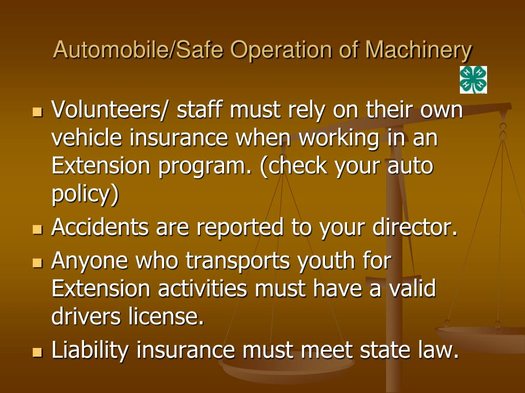 Automobile/Safe Operation of Machinery
