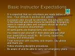 basic instructor expectations