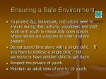 ensuring a safe environment