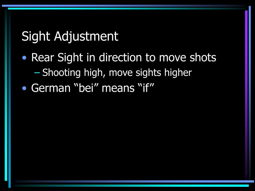 Sight Adjustment