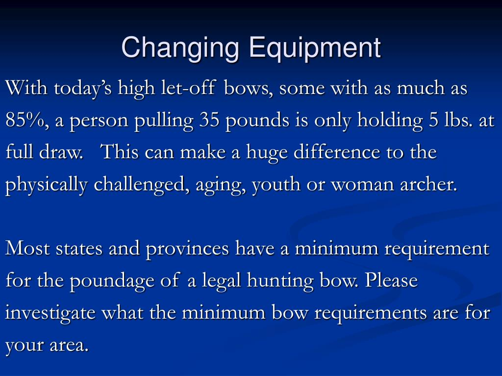 Changing Equipment