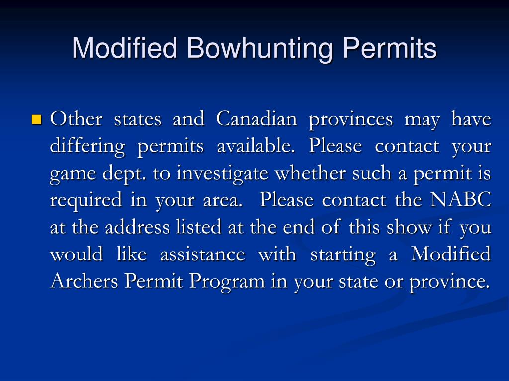 Modified Bowhunting Permits
