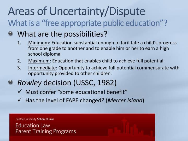 Areas of Uncertainty/Dispute