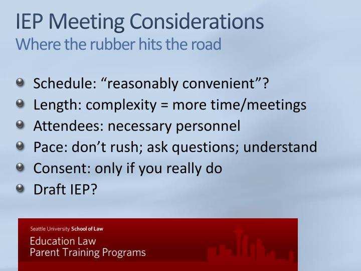 IEP Meeting Considerations