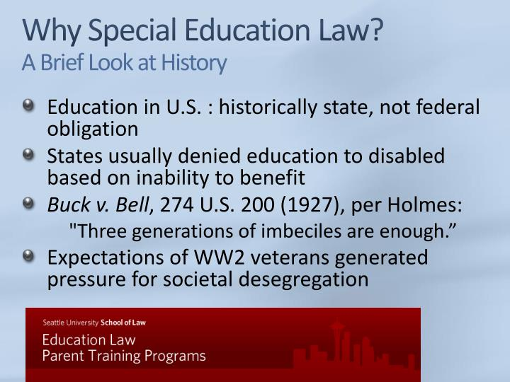 Why special education law a brief look at history
