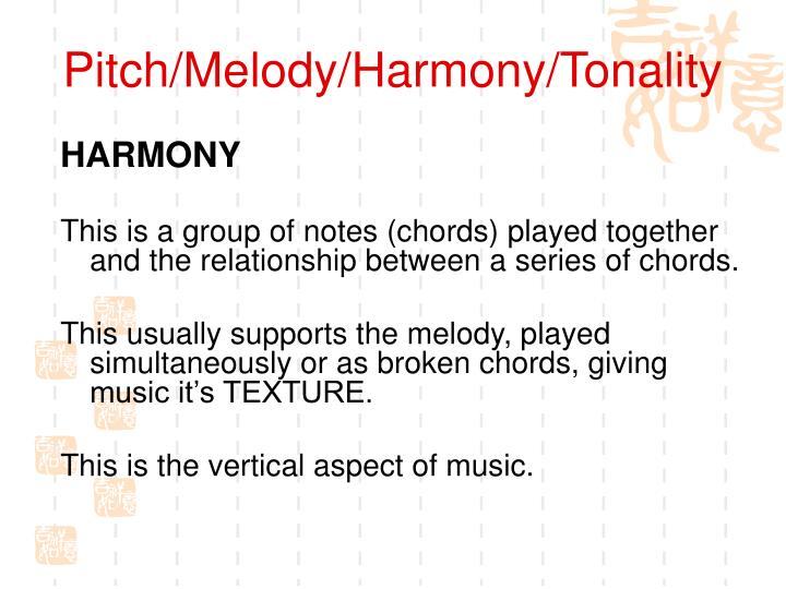 Pitch/Melody/Harmony/Tonality