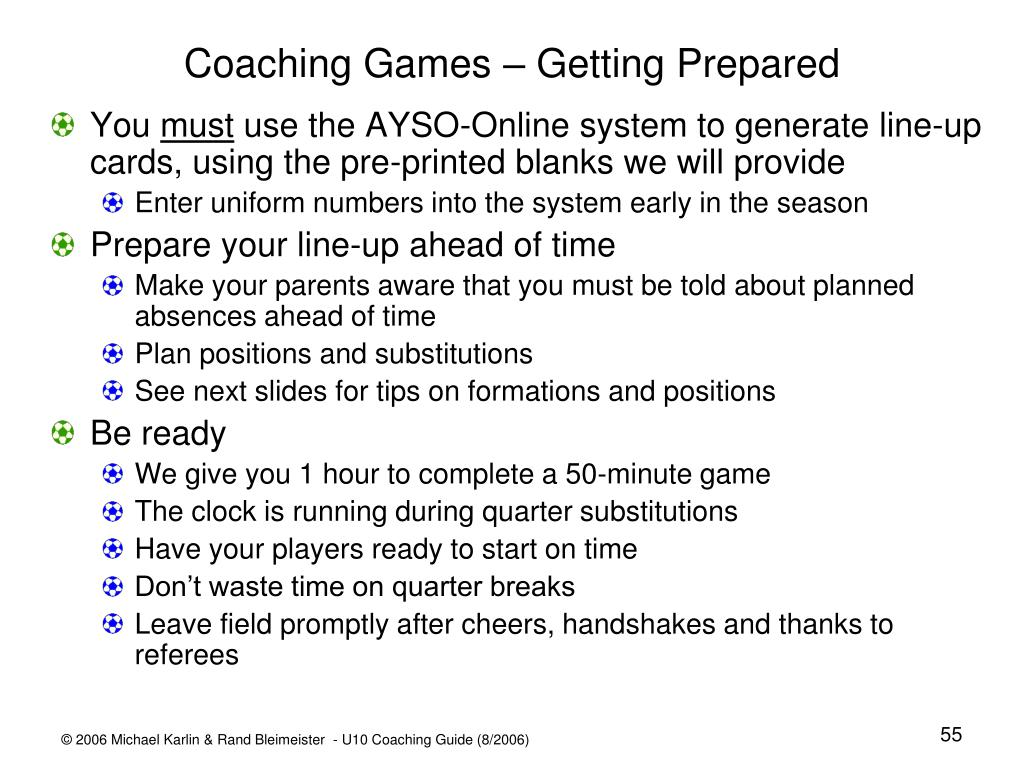 Coaching Games – Getting Prepared