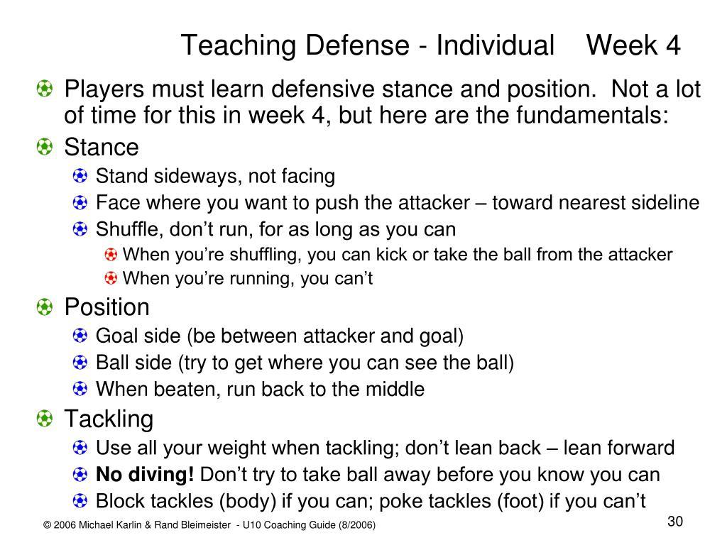 Teaching Defense - IndividualWeek 4
