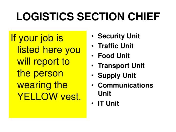If your job is listed here you will report to the person wearing the YELLOW vest.