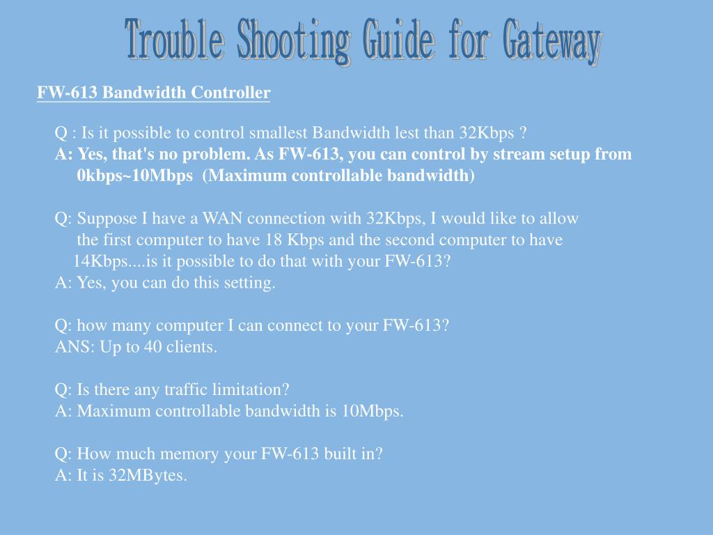 Trouble Shooting Guide for Gateway