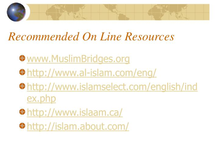 Recommended On Line Resources