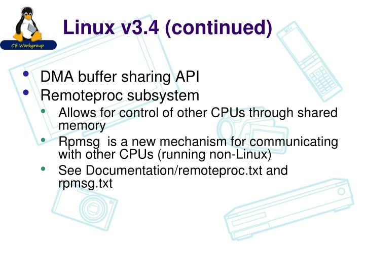 Linux v3.4 (continued)