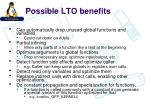 possible lto benefits